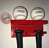Baseball Bat Display Rack Wall Mount Red 3 Bats 2 Balls Holder