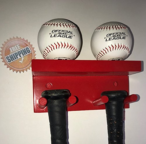 Baseball Bat Display Rack Wall Mount Red 3 Bats 2 Balls Holder by MWC