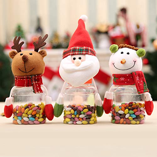 Christmas Decoration Candy Jar For Kids Santa Claus Snowman Elk Christmas Candy Packaging PET Christmas Storage Candy Jar Candy Gift Container Bottle Holder Xmas Party Decor 3 Pack