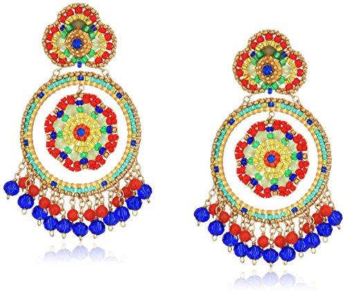 Carnelian Flower Earrings Dangle - Miguel Ases Carnelian and Sapphire Hydro-Quartz Dangle Open Flower Circle Center Post Drop Earrings