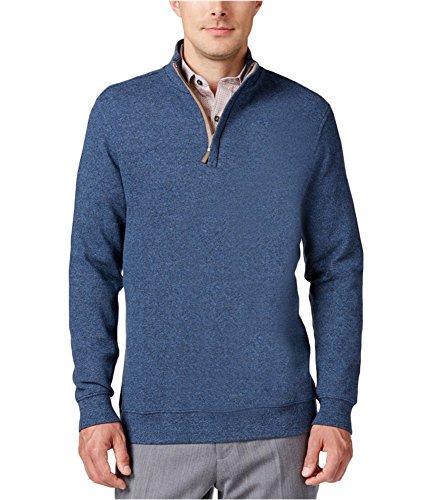 Tasso Elba Mens Pique 1/4 Zip Front Mock Sweater Blue L