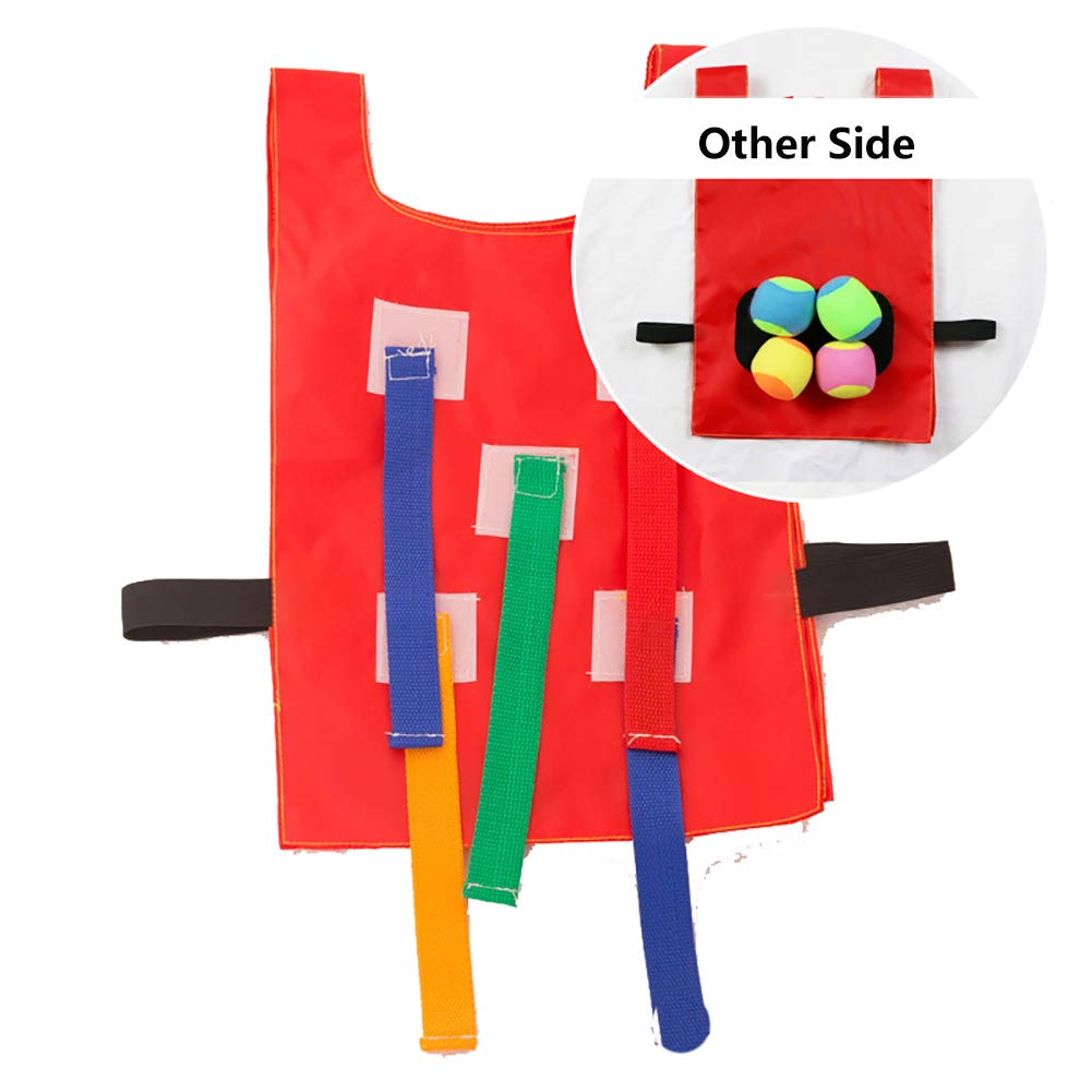 Double-Sided Kids Dodgeball Game Set Catch Tails Game for Children,4 Vests and 16 Dodge Balls,Outdoor Activity Sports Party Family Kindergarten Sensory Toy