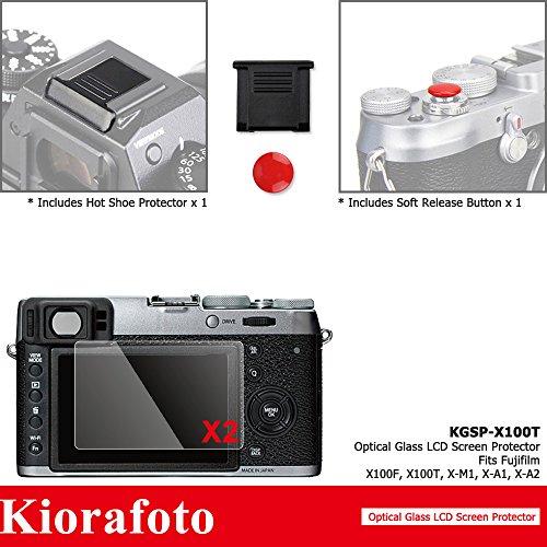 Kiorafoto 2Pcs Anti Scratched Optical Tempered Glass Screen Protector + Red Convex Surface Camera Shutter Button Cap + Hot Shoe Dustproof Cover for Fujifilm X100F X100T Digital Camera Screen Protector