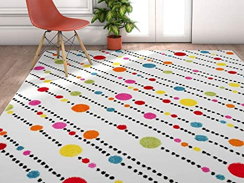 Well Woven Modern Rug Dandy Dots and Stripes Ivory 5 X7 Accent Area Rug Entry Way Bright Kids Room Kitchn Bedroom Carpet Bathroom Soft Durable Area Rug