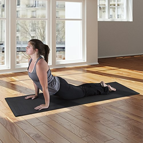 "Wakeman Fitness Double Sided Yoga Mat 71"" X 24"" X 0.25"" Black"