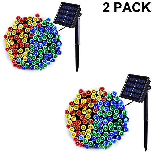 Jiamao Solar String Lights 100LED 42.7ft 8 Modes Solar Christmas Lights Waterproof Outdoor Fairy String Lights for Gardens, Homes, Wedding, Party, Curtains, Outdoors (100LED2PACK, Multicolor)