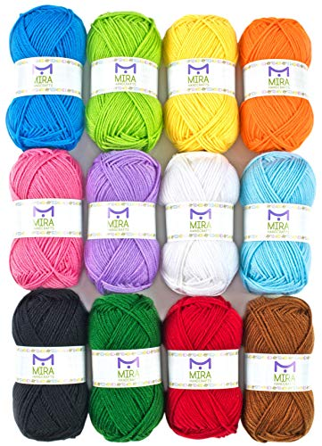 (Mira Handcrafts Acrylic 1.76 Ounce(50g) Each Large Yarn Skeins – 12 Multicolor Knitting and Crochet Yarn Bulk – Starter Kit for Colorful Craft - 7 Ebooks with Yarn Patterns)