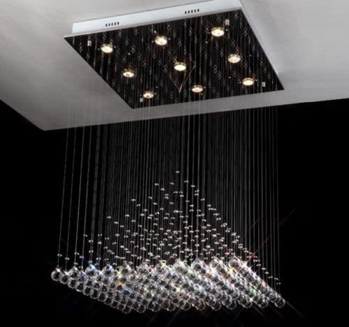 Pyramid Crystal Chandelier Lighting Modern Rain Drop Design Ceiling Lighting Fixture W23.6 x H27.5