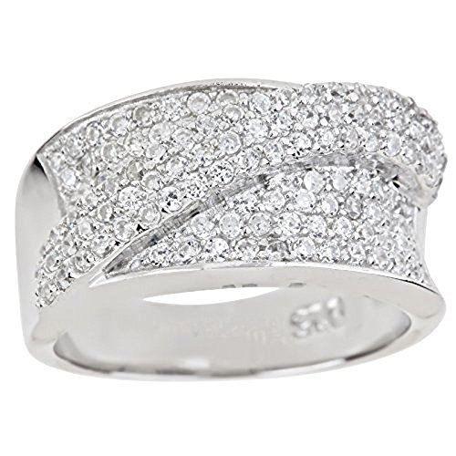 Diagonal Stripes Ring (Sterling Silver Diagonal Stripe Pave Cubic Zirconia Ring)