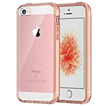 JETech 0427- Case for iPhone SE, iPhone 5s, iPhone 5, Shock-Absorption Bumper Cover, Anti-Scratch Clear Back, Rose Gold