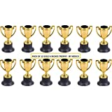 Golden Plastic Trophy - 4 Inch Cup Trophy For Children, Competitions, Awards, Parties, Party favors, Props, Rewards, Prizes, Games, School, Field Day, Boys And Girls By Kidsco