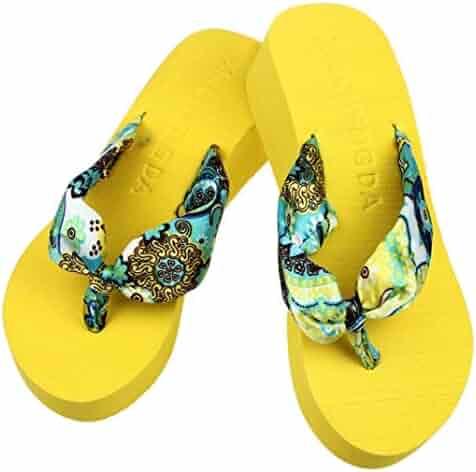 7b568a88e Sandals AmyDong Women Summer Flip Flops Wedge Platform Thong Sandals Shoes  Beach Casual Slippers