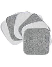 Polyte Premium Hypoallergenic Chemical Free Microfiber Makeup Remover and Facial Cleansing Cloth, 6 Pack (8x8 in, Grey,White)