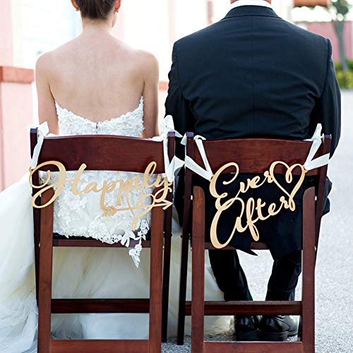 856store Novelty 2Pcs/Set Happily Ever After Rustic Wedding Signs Chair Hanging Party Decoration