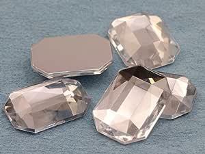 KraftGenius 25x18mm Flat Back Octagon Acrylic Jewels Pro Grade - 15 Pieces (Crystal)
