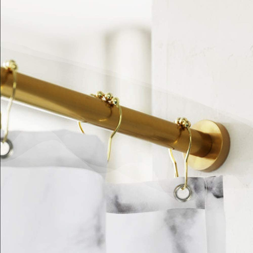 Love Creative Gold Double Glide Shower Curtain Rings Hooks Polished Brass Rustproof Stainless Steel for Shower Curtain Rods 12 Count Polished Brass