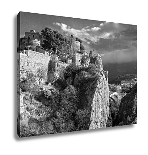 Ashley Canvas Remains Of The Ancient Fortress San Jose Castle In Guadalest Spain, Kitchen Bedroom Living Room Art, Black/White 24x30, AG6535063 by Ashley Canvas