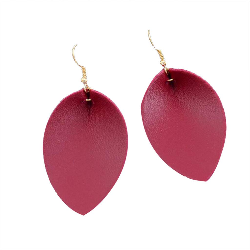 Minshao Creative Leaf Water Drops Leather Bohemian Earrings Women Party Trendy Spring Summer Jewellery Birthday Gift (Black)