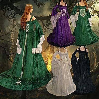 CAGYMJ Dress Party Mujer Vestido,Cosplay Medieval Retro Hombros ...