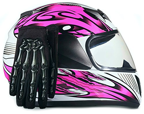 Youth Kids Full Face with Shield Helmet & Gloves Combo Motorcycle Street Dirtbike MX - Pink (XL)