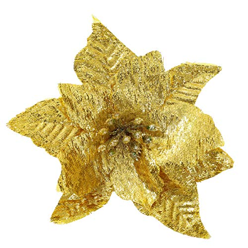 gonfaci Poinsettia Christmas Ornament, Glitter Artificial Flower Decorations for Christmas Tree/Garland/Wreath/Package of Gifts, Festive Home Decor, Pack of 24, Gold (Poinsettia Prices)