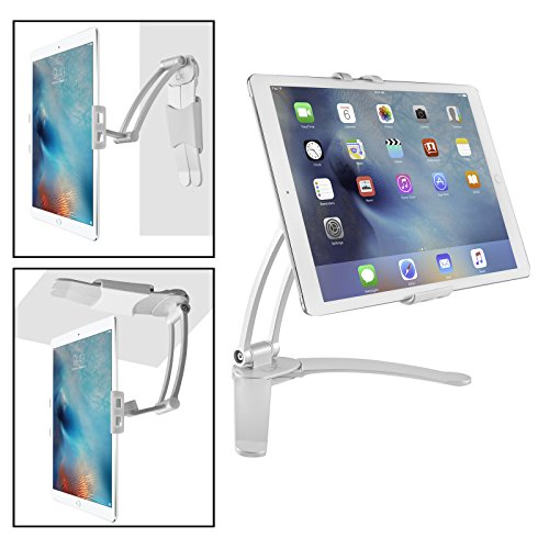 Luxitude 2-in-1 Tablet & Phone Holder / Stand, E-Readers & Tablets, Permanent or Temporary Mounting for Kitchen, Bedroom, Countertop, Walls, Undercounter, with TWO Mounting Brackets 1 Countertop