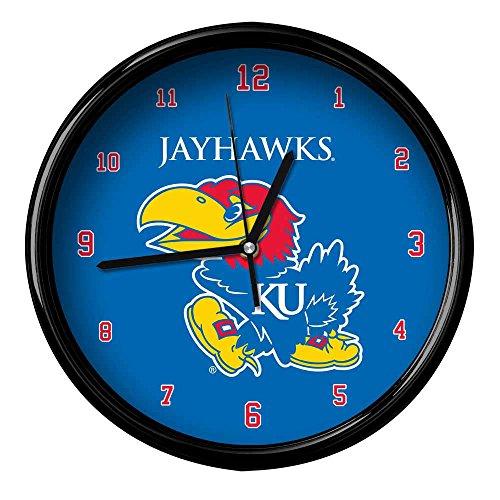 NCAA The University of Kansas Official Black Rim Basic Clock, Multicolor, One - University Ncaa Kansas