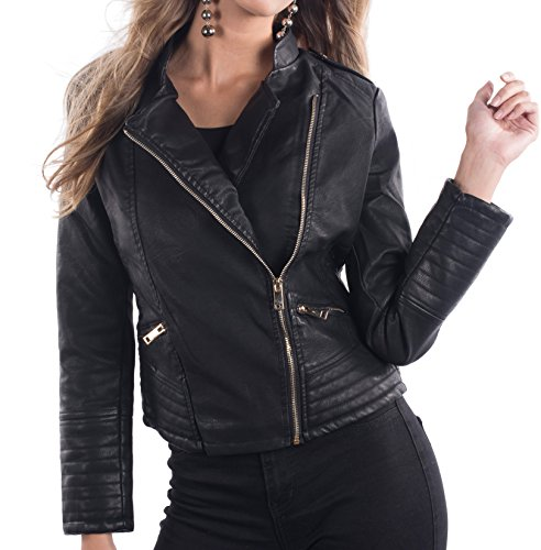 Philomena Petti Ladies Faux Leather Motorcycle Jacket, Womens PU Riding Biker Jacket With Mandarin Collar,Black - Mandarin Collar,Large