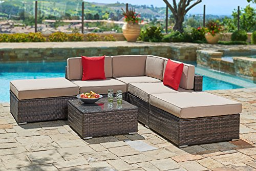 Suncrown Outdoor Furniture Sectional Sofa Set (6-Piece Set) All-Weather Brown Wicker with Brown Washable Seat Cushions & Modern Glass Coffee Table | Patio, Backyard, Pool | Incl. Waterproof Cover - 6 Piece Seating