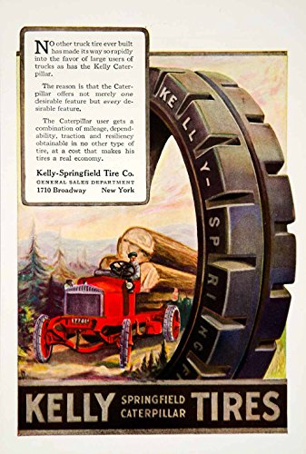 1921 Ad Kelly-Springfield Caterpillar Tractor Truck Tires Car Automobile YSC1 - Original Print Ad from PeriodPaper LLC-Collectible Original Print Archive