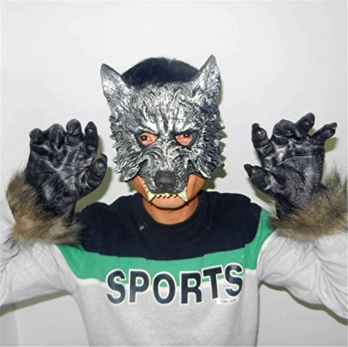 Gmasking Latex Adult Wolf Mask and Gloves (Wolf Masks For Adults)
