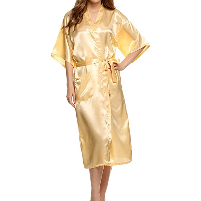 qiansu Bata Kimono para Mujer Bata Larga Clásica de Satén Boda Ropa de Dormir: Amazon.es: Ropa y accesorios