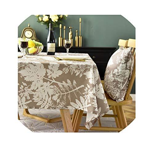 LIUUUU 2019 Leaf Print Orange Coffee Rectangular Party Washable Waterproof Tablecloth Dust Cover Home Manteles ZC058,Coffee ()