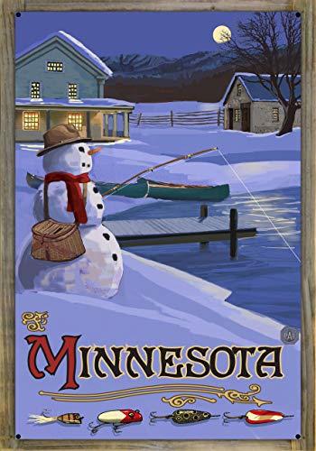 Northwest Art Mall Minnesota Snowman Fishing Hills Metal Print on Reclaimed Barn Wood by Paul A. Lanquist (24