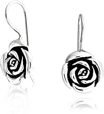 Rose Flower Drop Earrings French Wire Black Antiqued Oxidized Sterling Silver
