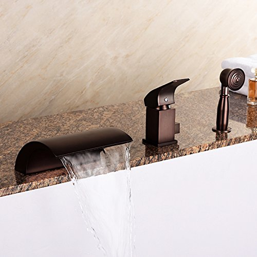 JinYuZe New Oil Rubbed Bronze Roman Tub Filler Faucet 3 Hole Waterfall  Bathtub Faucet With