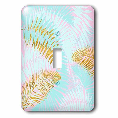 3dRose Uta Naumann Pattern - Aloha-Teal Pink and Gold Foliage Palm Leaves Jungle Tropical Pattern - Light Switch Covers - single toggle switch ()