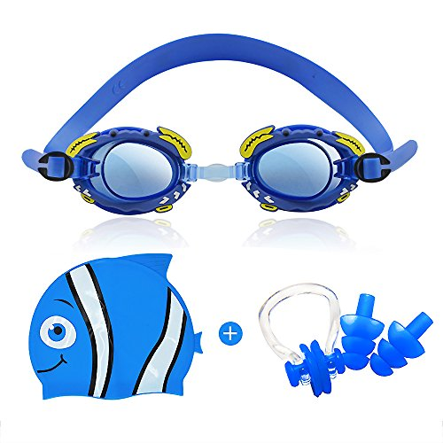 Goggles Set With Swim Cap - Swim Goggles For Kids (Age 3-15) With Crystal Clear Vision Anti-Fog 400 UV Protection Soft Health Silicone Frame (Blue) ()