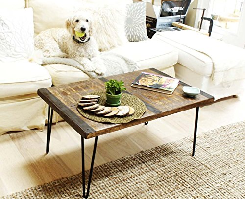 Made in America - Solid Reclaimed Wood Coffee Table With Metal Inlaid Straps