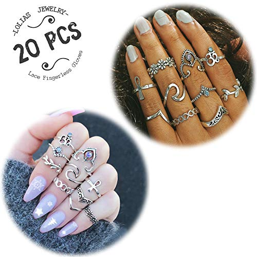 LOLIAS 20 Pcs Vintage Knuckle Ring Set for Women Girls Stackable Rings Set Hollow Carved Flowers (C:20 Pcs a Set)