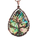 SUNYIK Teardrop Rainbow Ablone Shell Tree of Life Pendant Necklace