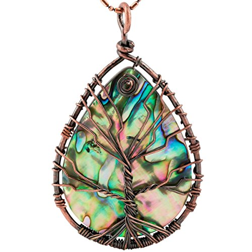 SUNYIK Teardrop Rainbow Abalone Shell Tree of Life Pendant Necklace