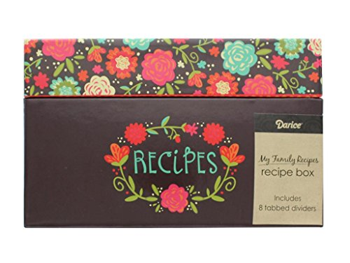 [Darice Recipe Card Box Happy Day Floral] (Hinged Recipe Box)