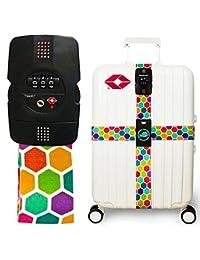 Luggage Strap TSA Lock Cross Strap Combination Lock Adjustable Travel Suitcase Belt