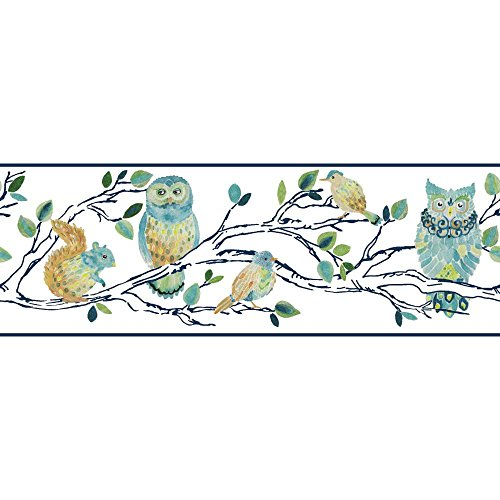 York Wallcoverings Brothers and Sisters V Forest Friends Border, White/Blue Tan/Yellow/Green/Green/Navy
