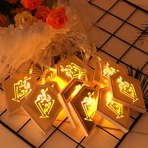 OSALADI Luces de Cadena Eid Interior Ramadan Rombo Luz de Cadena Ramadan Mubarak Luz para Eid Al-Fitr Fiesta Festival…
