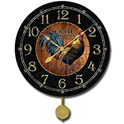 The Big Clock Store Black & Wood Rooster Pendulum Wall Clock, Available in 5 sizes, Whisper Quiet, non-ticking