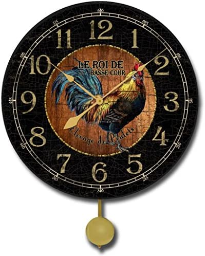 Black Wood Rooster Pendulum Wall Clock, Available in 5 Sizes, Whisper Quiet, Non-Ticking