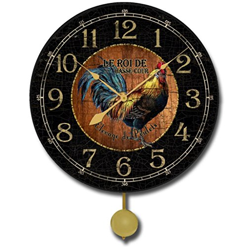 Black & Wood Rooster Pendulum Wall Clock, Available in 5 Sizes, Whisper Quiet, Non-Ticking