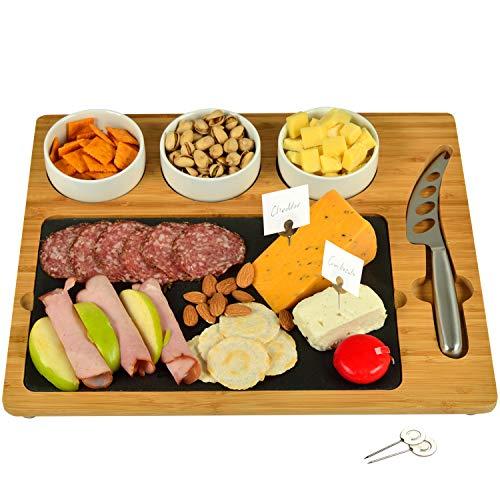 Picnic at Ascot Bamboo & Slate Cheese Board, 3 Ceramic Bowls & Cheese Knife & Cheese Markers - 15